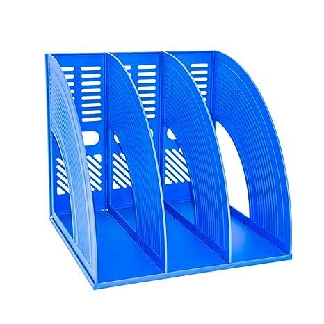 Organizador de archivos SAYEEC de plástico resistente con tres archivadores para guardar y mostrar documentos,
