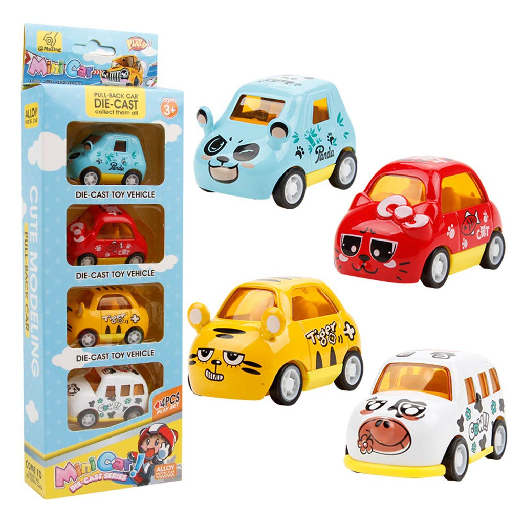 MHDGG Pull Back Car 4 Pack Assorted Alloy Carton Animal Mini Pull Back Vehicles Cat Panda Tiger Cow Party Favors for Children Kids Boys and Girls Pull Back and Go Car Toy Play Set