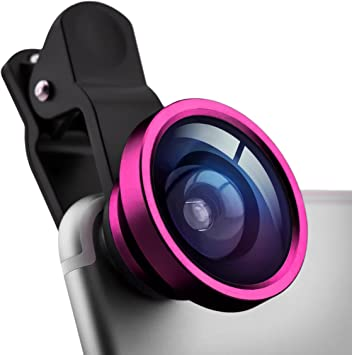 Lente de teléfono selfie objetivo gran angular con clip desmontable del PRECORN marca en el color rosa para Smartphone por ejemplo, Iphone, Samsung, Blackberry, Nokia, iPad, etc.: Amazon.es: Electrónica