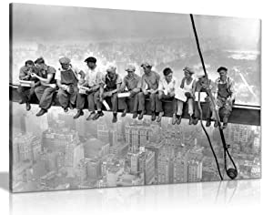 Lunch ATOP A New York Skyscraper Canvas Wall Art Picture Print (30x20in)