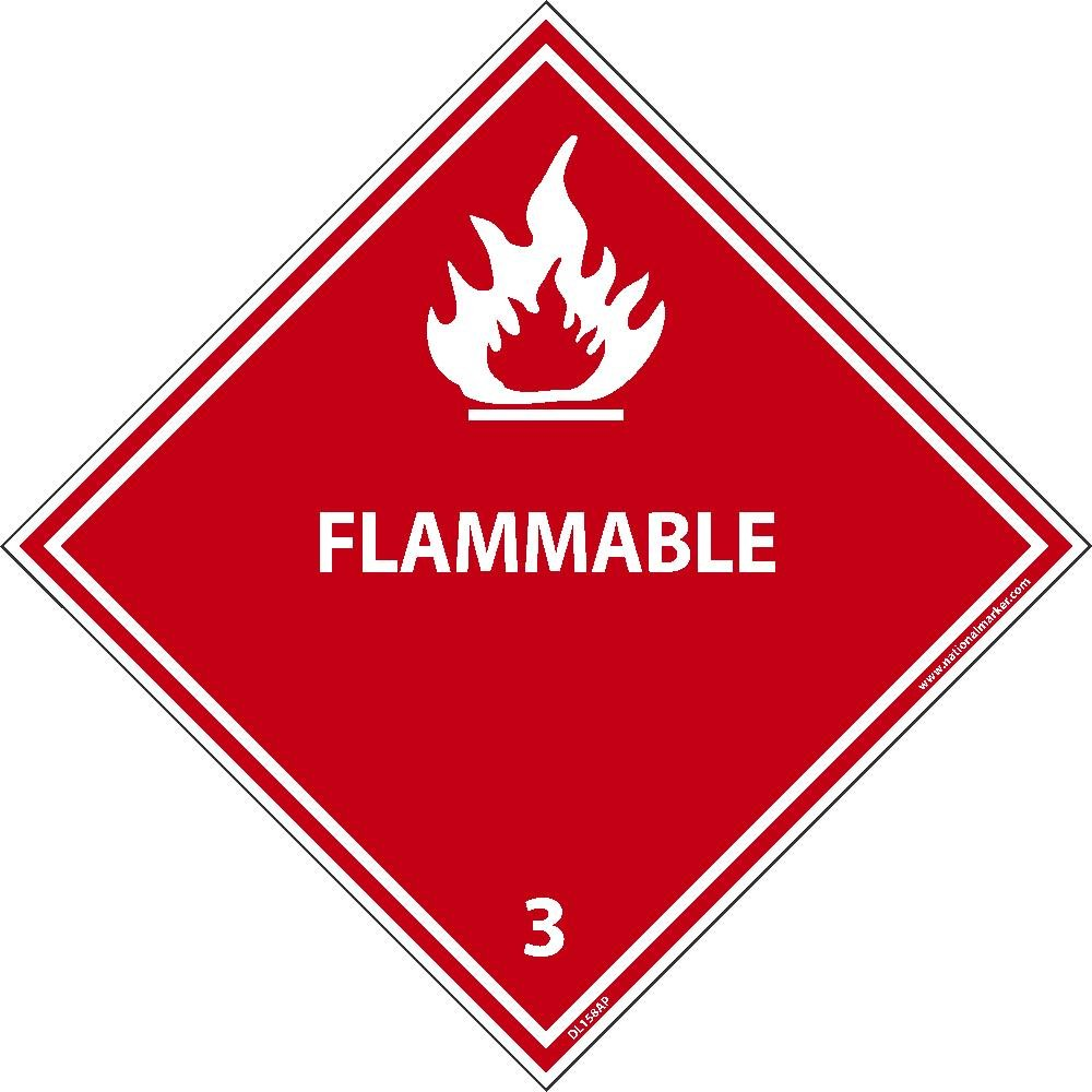 DL158ALV National Marker Dot Shipping Label, Flammable 3, 4 Inches x 4 Inches, Ps Vinyl, 500/Roll