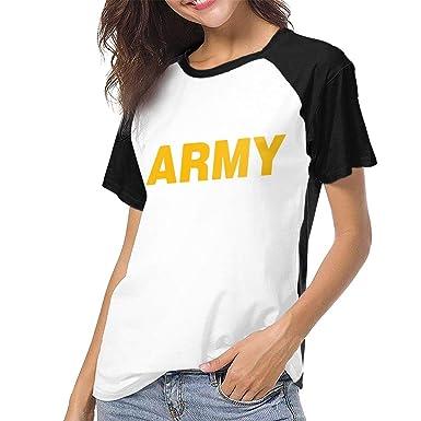 d094a509 Amazon.com: US Military Gold Army Logo Women's Short Sleeves Baseball Tee  Casual Raglan Shirt Baseball Raglan T-Shirt: Clothing