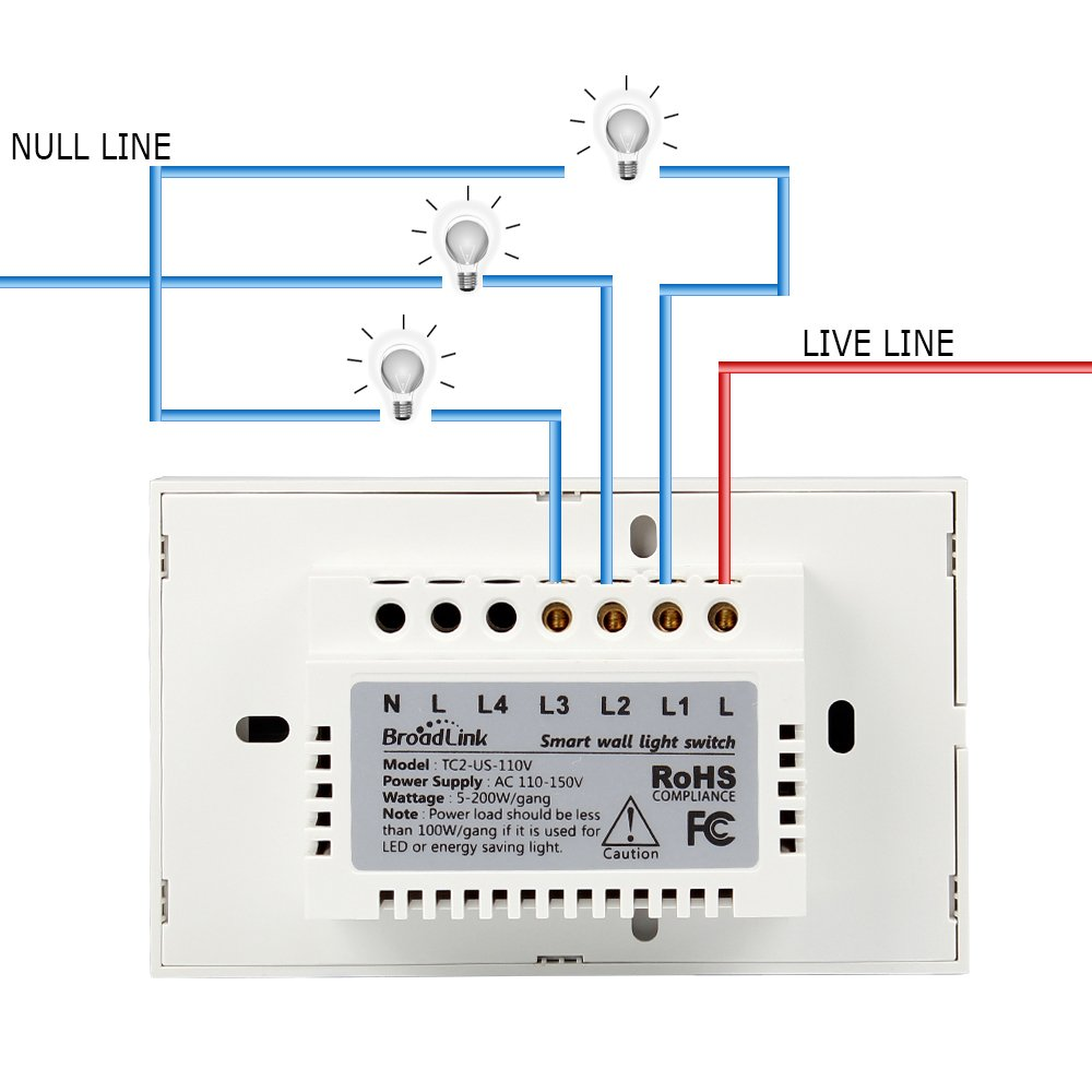 Smart Wall Light Switch Broadlink 3 Gang Touch Panel Wi Fi Enabled Wiring A Way 3way Powerlight Control Wireless 110 150v