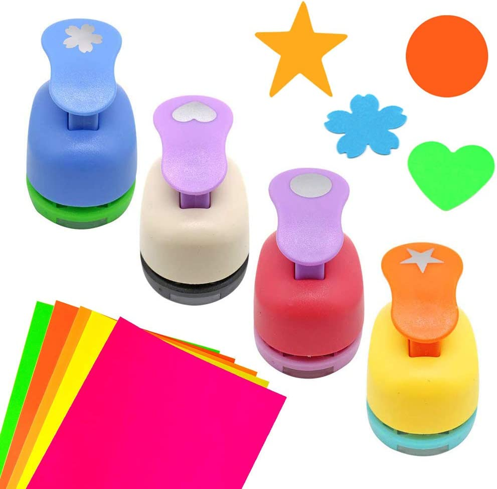 Haploon 4Pcs Paper Punchers Craft Holes 1 Inch Shape Punches Scrapbook Punches Round Star Heart Flower Shape for Kids Party Favors,DIY Artwork, Gift Wrapping