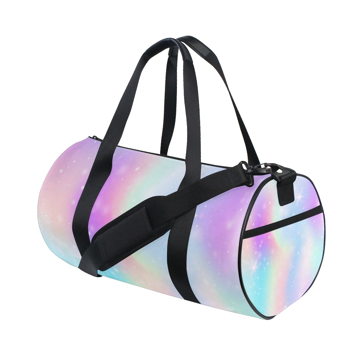 ALAZA Pink Glitter Hearts Travel Duffle Bag Sports Luggage with Backpack Tote Gym Bag for Man and Women