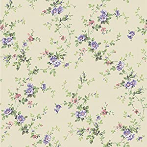 York Wallcoverings BA4521 Casabella II Floral Trail Wallpaper Cream Lavender White Blush Pink Mint Green Yellow Tan