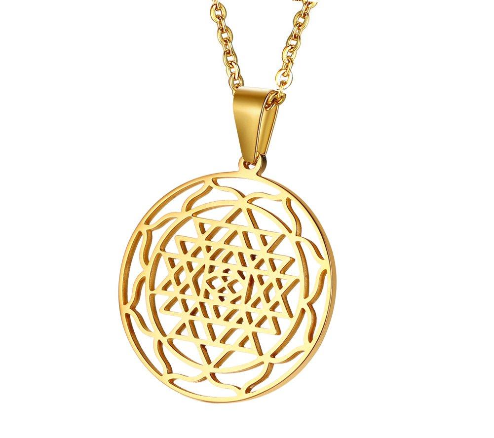 MPRAINBOW MP Stainless Steel Gold Sri Yantra Sri Chakra Sacred Geometry Talisman Pendant Necklace