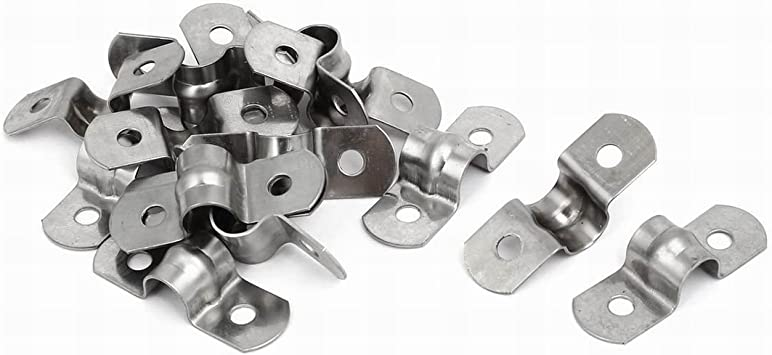 0.6 2 Holes Tube Straps 304 Stainless Steel Tension Tube Clip Clamp 30pcs Rigid Pipe Strap uxcell 16mm