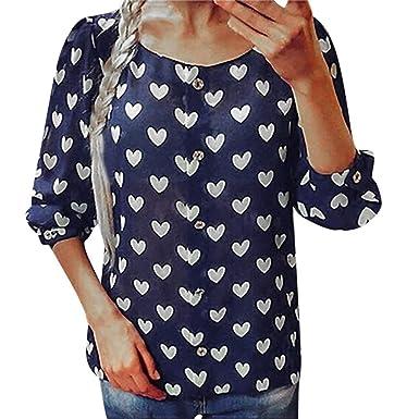 Camisa con Botones para Mujer Blusa Informal de Manga Larga con ...