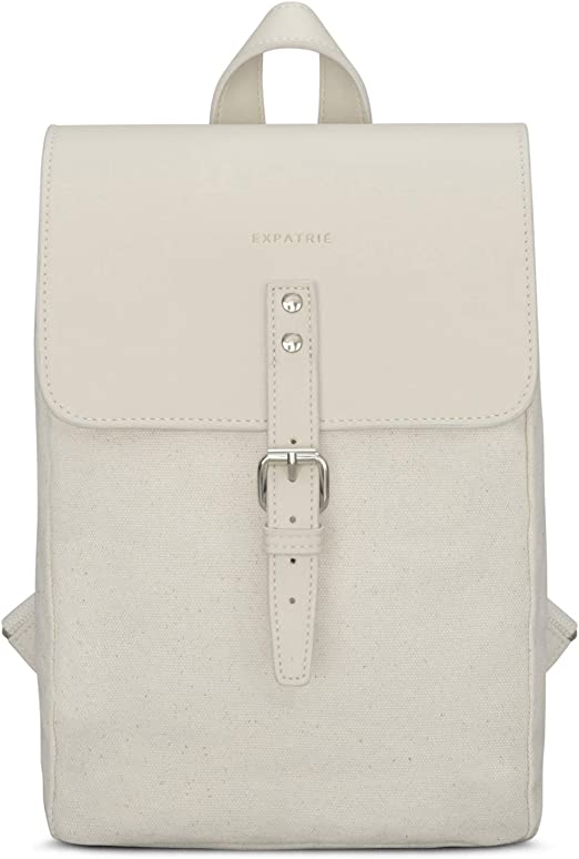 Expatrié Anna Small Women S Backpack Cotton Canvas And Vegan Leather High Quality Mini Daypack With Magnetic Closure White Luggage