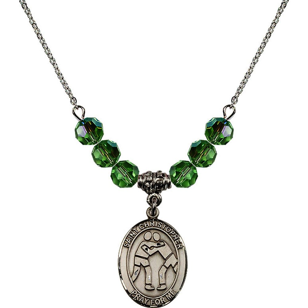 18-Inch Rhodium Plated Necklace with 6mm Green August Birth Month Stone Beads and Saint Christopher/Wrestling Charm