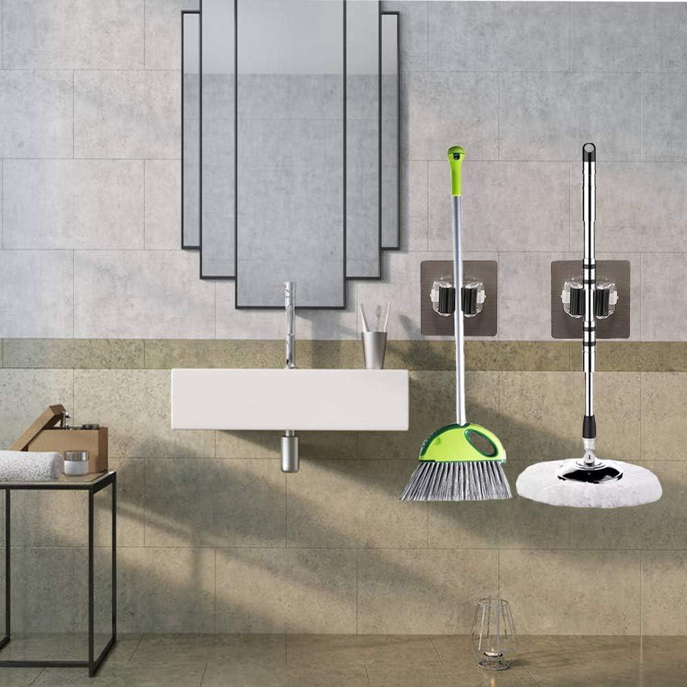 jardin pour balai bureau outil de rangement pour cuisine support de rangement pour balai autocollants robustes garage noir Lot de 4 supports pour balai /à serpilli/ère salle de bain
