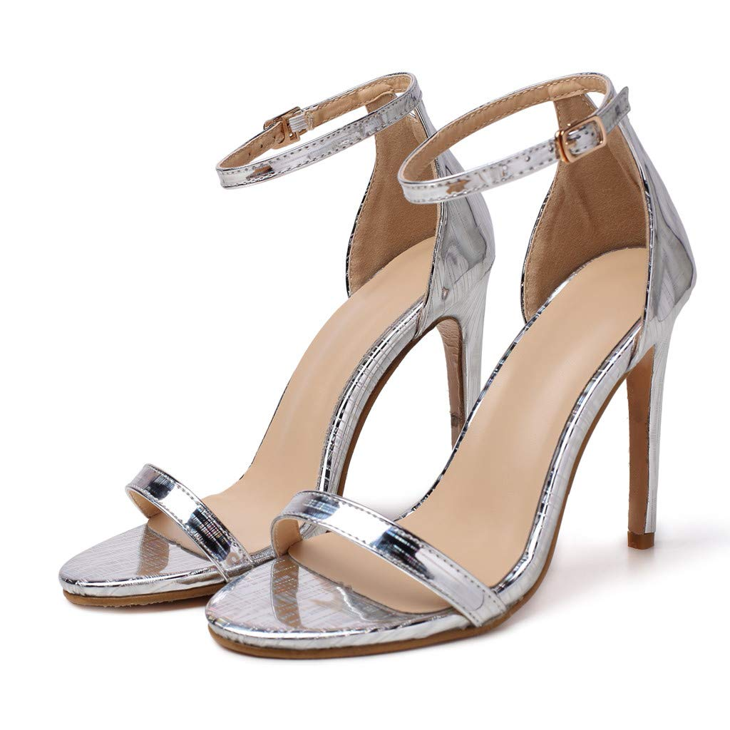Selomore Women's Prom Shoes Strappy High Heel Formal Wedding Party Evening Sandals (Silver,US: 6) by Selomore Shoes (Image #2)