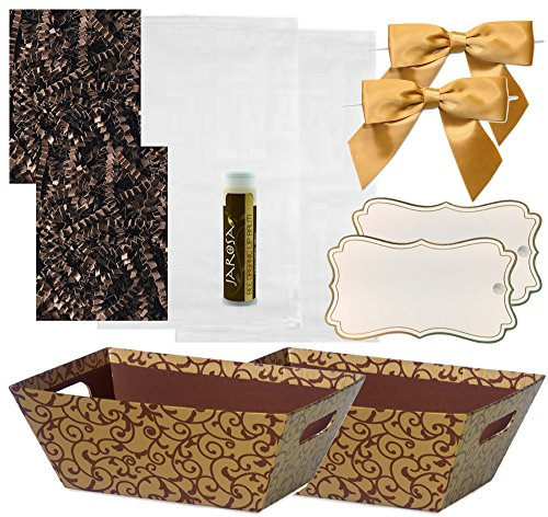 Pursito Gift Basket Making Kit Includes: Chocolate Scroll Market Tray, Crinkle Cut Paper, Cellophane Bag, Gold Satin Bow & Gift Tag-2 Total Sets Birthday, Anniversary & Graduation with Bonus Lip Balm by Pursito