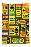 Nalahome Fleece Throw Blanket Outer Space Decor Warning Ufo Signs with Alien Faces Heads Galactic Paranormal Activity Design Yellow
