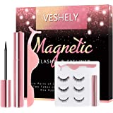 VESHELY Magnetic Eyelashes with Eyeliner Kit,3 Pairs Natural Look False Lashes Kit and Waterproof Magnetic Liner,3D…