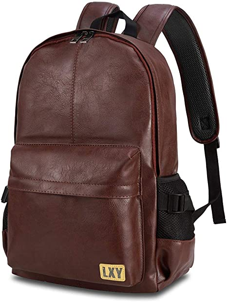 Vintage Mens Leather Black Backpacks School Casual Laptop Travel Shoulder Bag