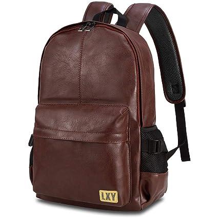 64f5b9b1dce4 Vintage Backpack Leather Laptop Bookbag for Women Men, LXY Vegan Backpack  Brown Faux Leather Bookbag School College Campus Backpack Travel Daypack