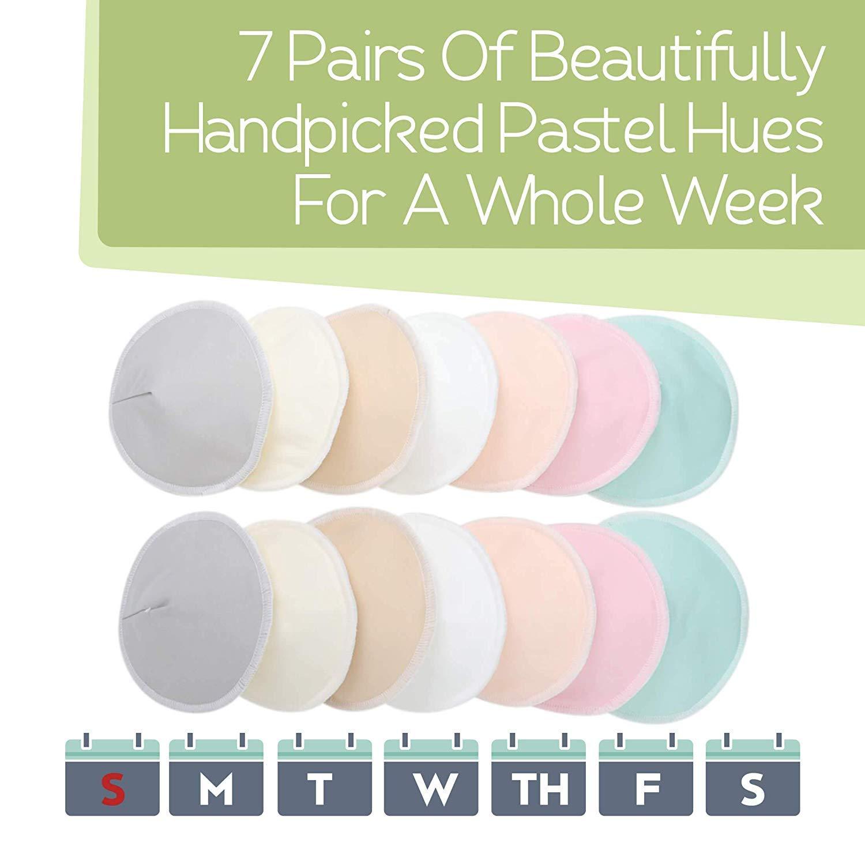 """Almohadilla de lactancia para la maternidad 14 almohadillas lavables Cubrepezones reutilizables para lactancia bolsa de lavado Almohadillas de lactancia de bamb/ú org/ánico Mediano, 3.9/"""""""