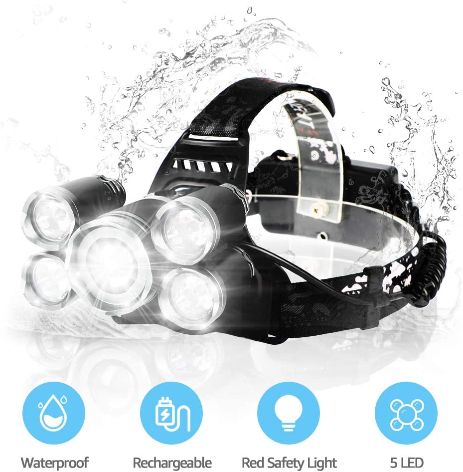 Neolight Rechargeable Headlamp, Super Bright 5 LED High Lumen and 4 Modes Waterproof Zoomable Head Lamp, Best for Camping, Outdoor, Hard Hat 18650 Battery Include