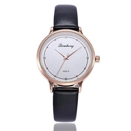SuperLina Women Fashion Watches Elegant Ladies Leather Analog Quartz Round Wrist Watches Delicate Rose Gold Clock