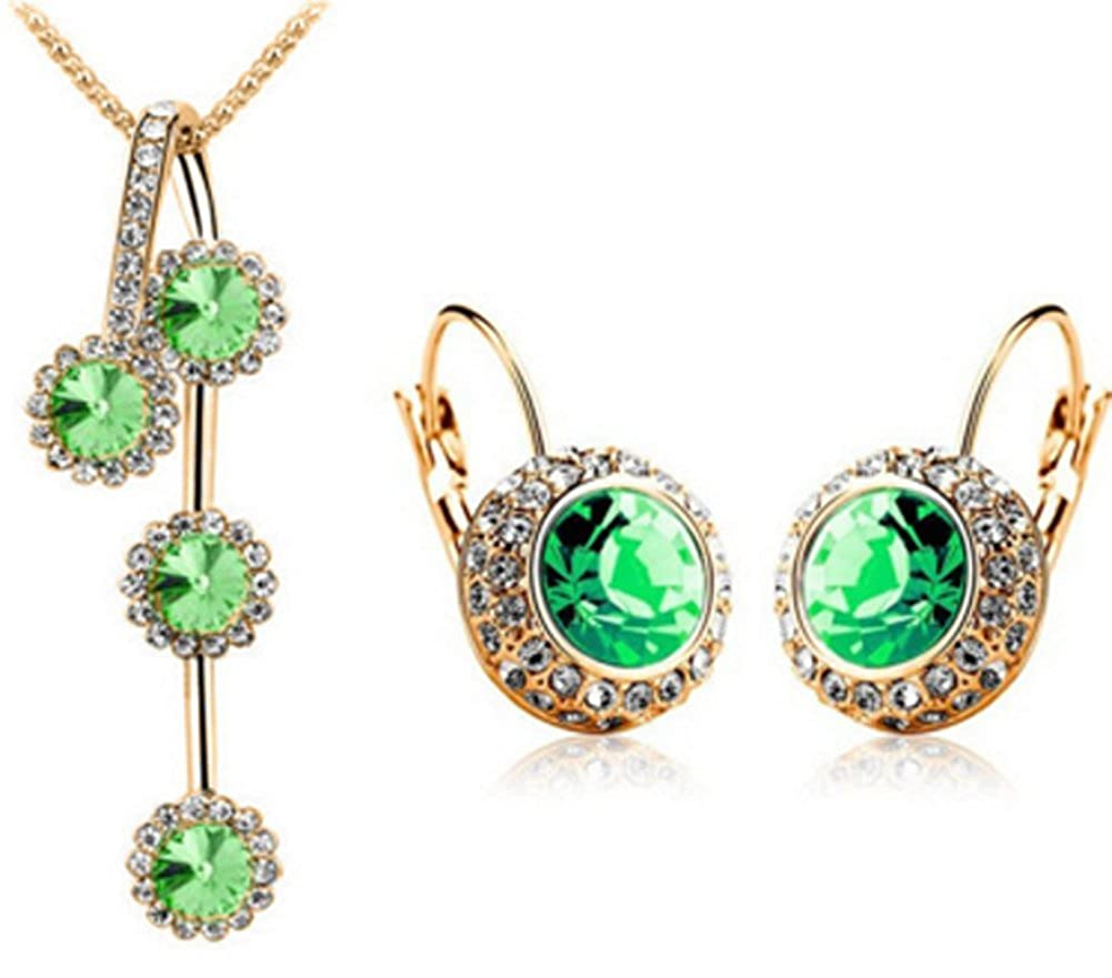 Richy-Glory Created Diamond Crystal Jewelry Set Round Pendants Necklace