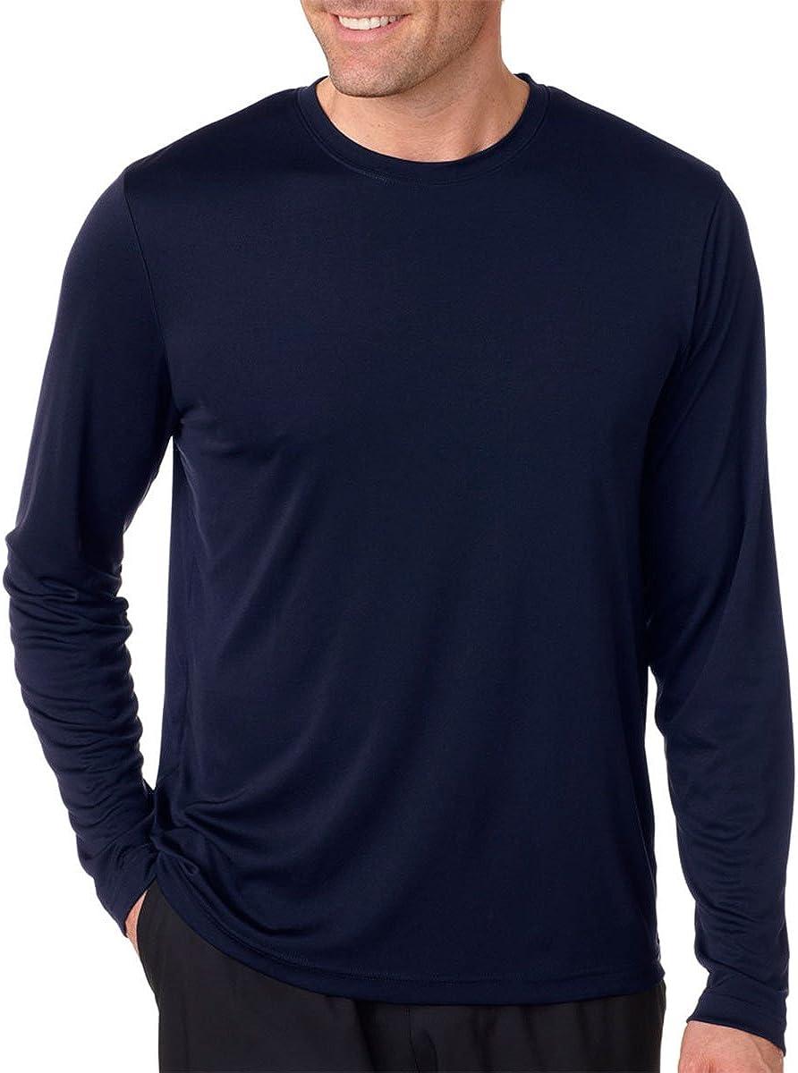 Hanes Men's Long Sleeve Cool Dri T-Shirt UPF 50+, Small, 2 Pack ,1 Graphite / 1 Navy