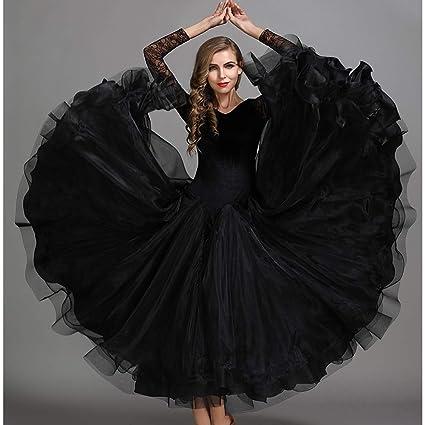 Amazon.com : Autumn Winter Classic Dance Dress Black Velvet ...