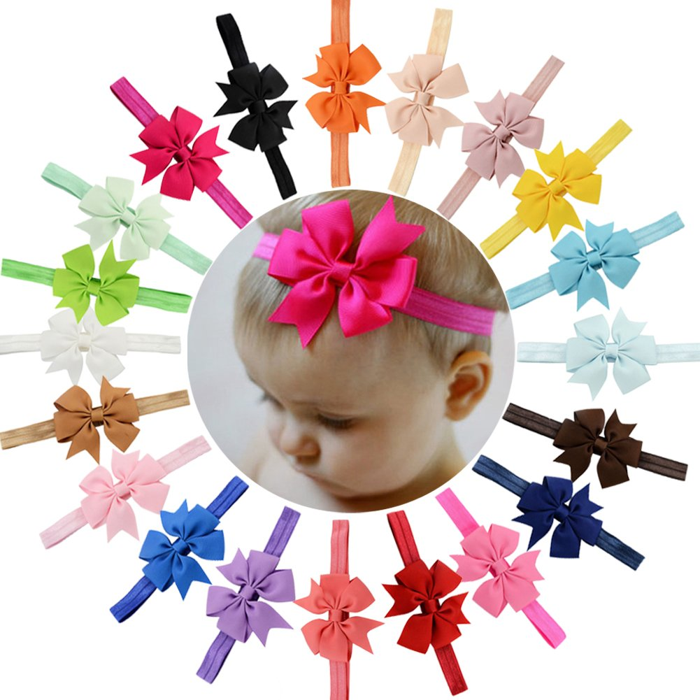 WillingTee 3 Inch Grosgrain Ribbon Hair Bows Headbands for Baby Girls Infants Kids and Toddler 20piece Barni&Co a-001