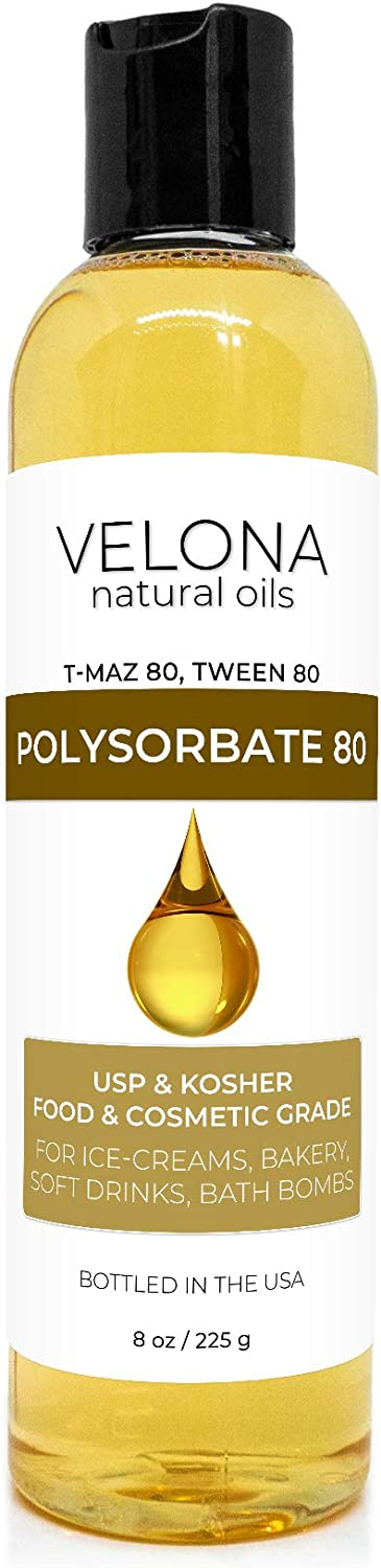 Polysorbate 80 by Velona - 8 oz | Solubilizer, Food & Cosmetic Grade | All Natural for Cooking, Skin Care and Bath Bombs, Sprays, Foam Maker | Use Today - Enjoy Results
