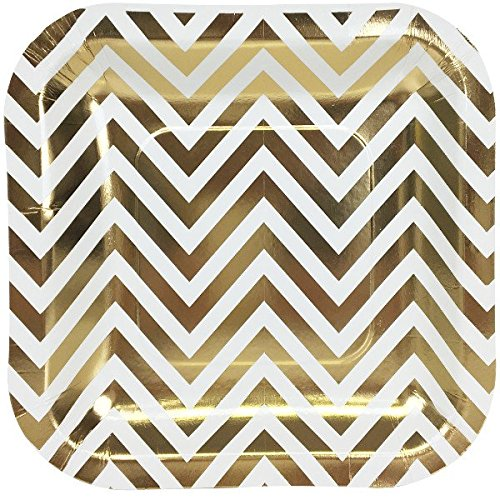 Just Artifacts Square Paper Party Plates 7.25-Inch (12pcs) - Metallic Gold Chevron - Decorative Tableware for Birthday Parties, Baby Showers, Grad Parties, Weddings, and Life Celebrations!
