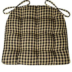 "Dining Chair Pad with Ties - Checkers 1/4"" Check - Reversible, Latex Foam Fill - Tufted Seat Cushion (Black / Tan, Standard)"