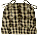 Barnett Products Dining Chair Pad with Ties - Checkers 1/4'' Check - Reversible, Latex Foam Fill - Tufted Seat Cushion (Black/Tan, Standard)