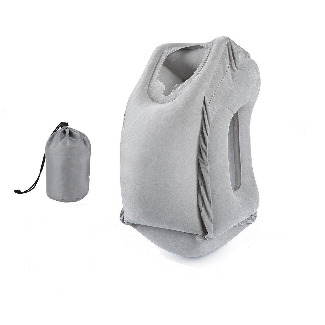 YKHS Inflatable Travel Pillow, Fast Inflatable Pillow,  Plane Pillow, Train,  Bus , Office, Ergonomic Portable Travel Pillow Soft PVC Flocking Grey