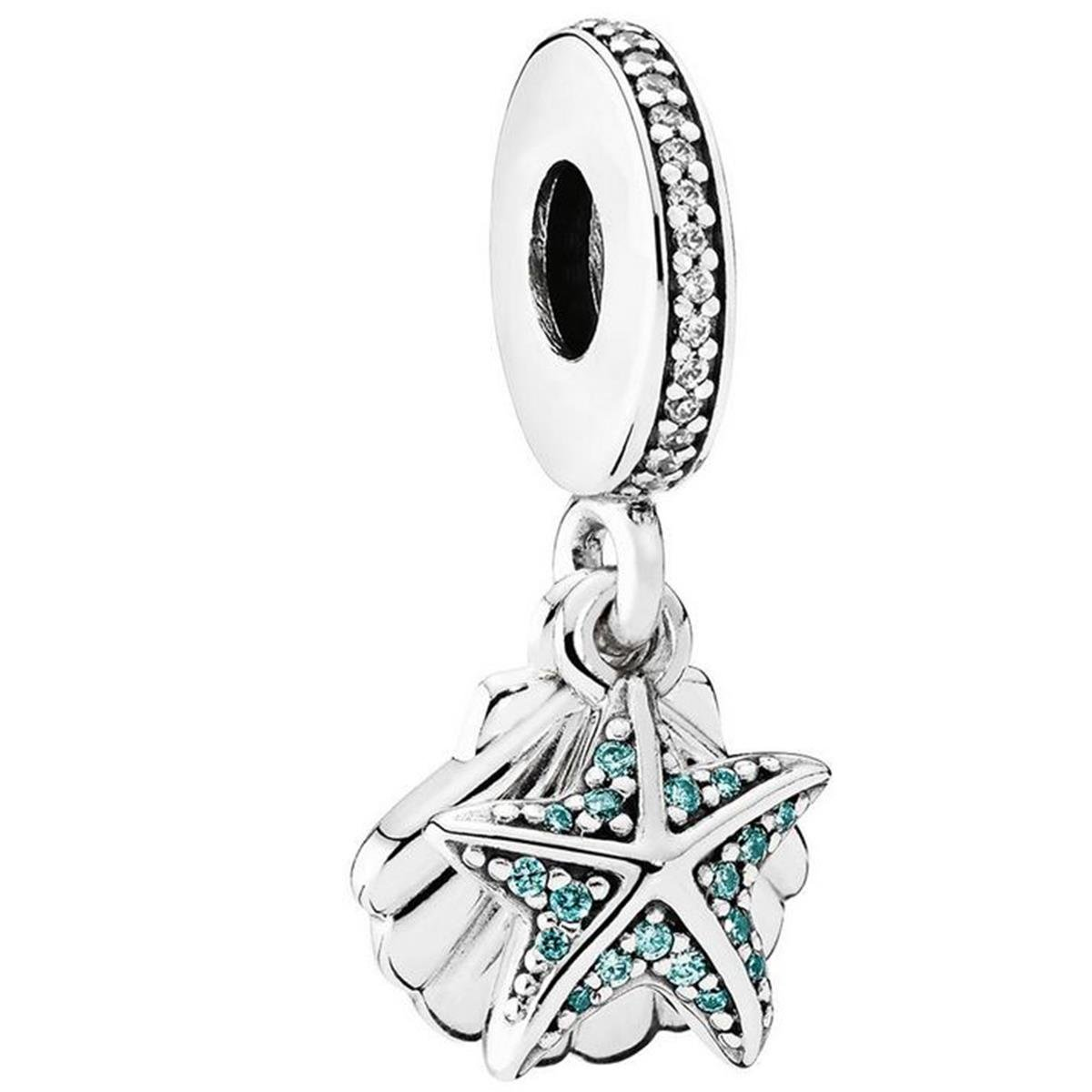 PANDORA Tropical Starfish & Sea Shell Dangle Charm, Sterling Silver, Frosty Mint & Clear Cubic Zirconia, One Size by PANDORA