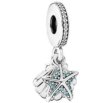 2effe3480 Amazon.com: Pandora Tropical Starfish & Sea Shell Silver Dangle ...