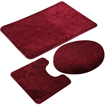 Amazoncom Mifxin Red Bathroom Rug Set 3 Piece Shaggy Soft Non Slip