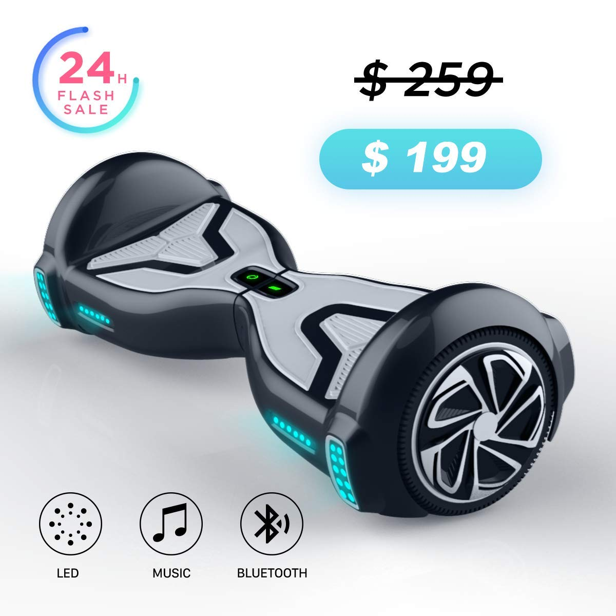 TOMOLOO Hover Boards for Kids, UL2272 Certified Hoverboard Adult with Bluetooth Speaker and LED Light, 6.5'' Two Wheels Self Balancing Hoverboard Electric Scooter