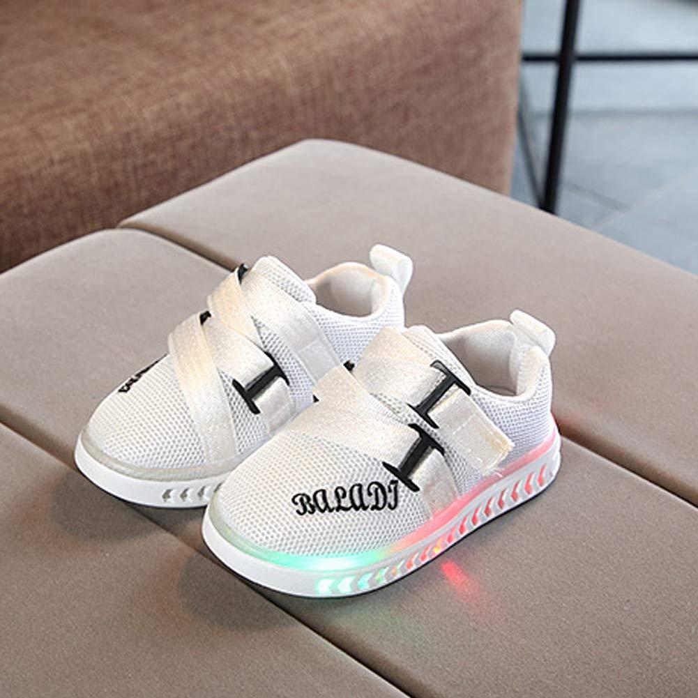 Alamana Fashion Kids Child Girls Boys Sneaker LED Light Anti-Slip Casual Shoes Gift Black 28
