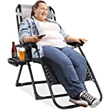 EZCHEER Padded Zero Gravity Chair, 75 inch Extra Long Patio Lounge Recliner Support 400 lbs Heavy Duty Camping Beach…