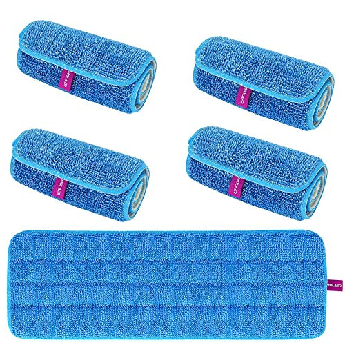 MOLAER 18 Inch Microfiber Velcro Flat Mop Pad Refills for Dry or Spray Mops, Replacement Heads Fit All 15