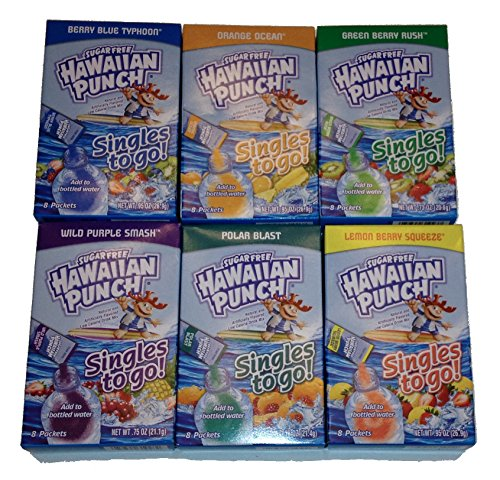Variety 6pk Hawaiian Punch Sugarfree Singles (48 Singles Total) -