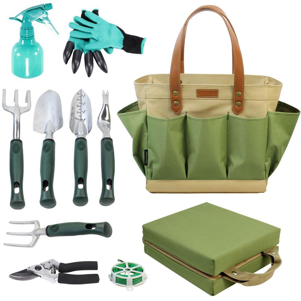 Bolsa de herramientas de jardí n con 11 herramientas de mano, mejor regalo de jardinerí a, organizador con kit de herramientas de jardí n de verduras, almohadilla de rodillera gratis mejor regalo de jardinería InnoStage