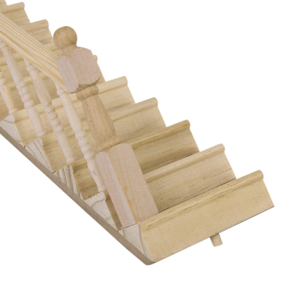 Sharplace Miniatur Linke Handdrail Gerade Treppe Holztreppe f/ür 1//12 Puppenhaus Puppenstube Dekoration