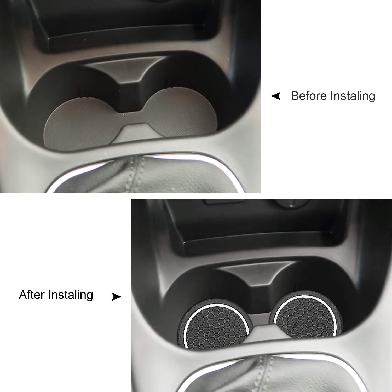 MLING 2,75 Zoll Auto Becherhalter Anti-Staub Rutschfeste Fussmatten Kompatibel f/ür Astra Corsa Wei/ß