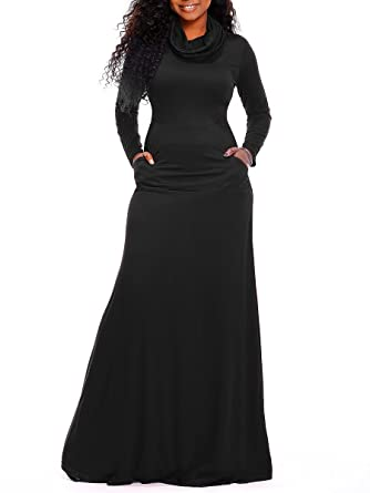 9a223dcb14 Symina Womens Long Sleeve Maxi Dress with Pockets Solid Cowl Neck Swing  Casual Long Dresses