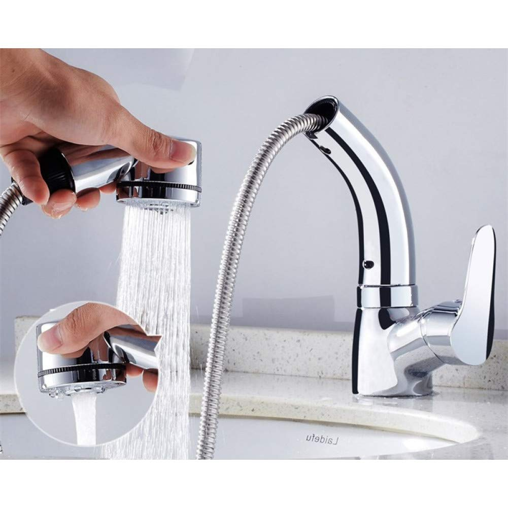 Chrome Bathroom Sink Taps YHSGY Basin Faucet Bathroom Hot & Cold Sink Mixer Tap Brass Pull Out Spring Spout Bathroom Crane redating and Lifting Shampoo Faucet