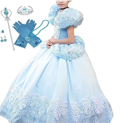 IWFREE Disfraz Cinderella Niña Princesa Carnaval Traje de ...