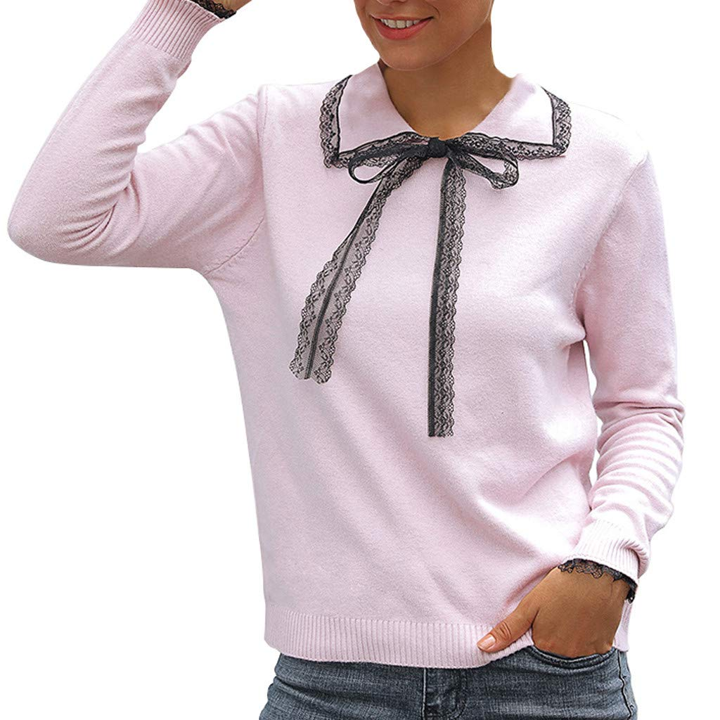 Lazapa Casual Sweaters for Women, Bow Lapel Fashion Blouse Loose Long-Sleeve Pullover Tops Match with Slacks, Jeans Pink by Lazapa
