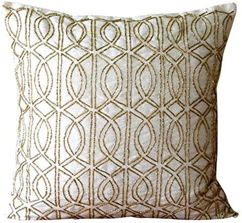 Amazon Com Luxury Throw Pillow Covers 22x22 Inch 55x55 Cm Ivory Decorative Pillows Cover Lattice Trellis Beaded Pillows Cover Art Silk Square Throw Pillow Covers Geometric Modern Gold Taj Home Kitchen
